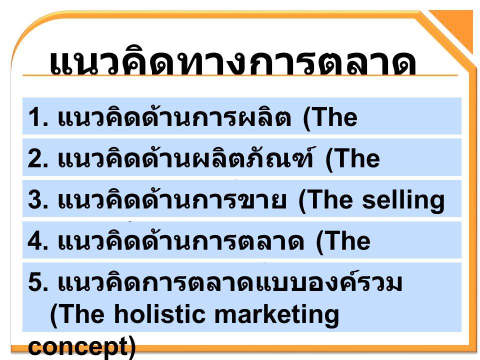 แนวคิดทางการตลาด 1. แนวคิดด้านการผลิต (The production concept)
