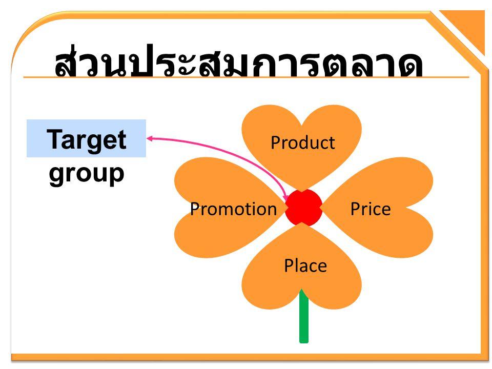ส่วนประสมการตลาด Target group Product Promotion Price Place