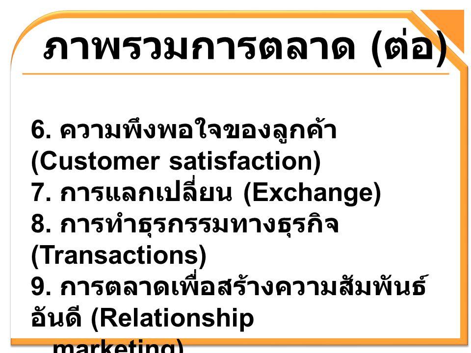 ภาพรวมการตลาด (ต่อ) 6. ความพึงพอใจของลูกค้า (Customer satisfaction)