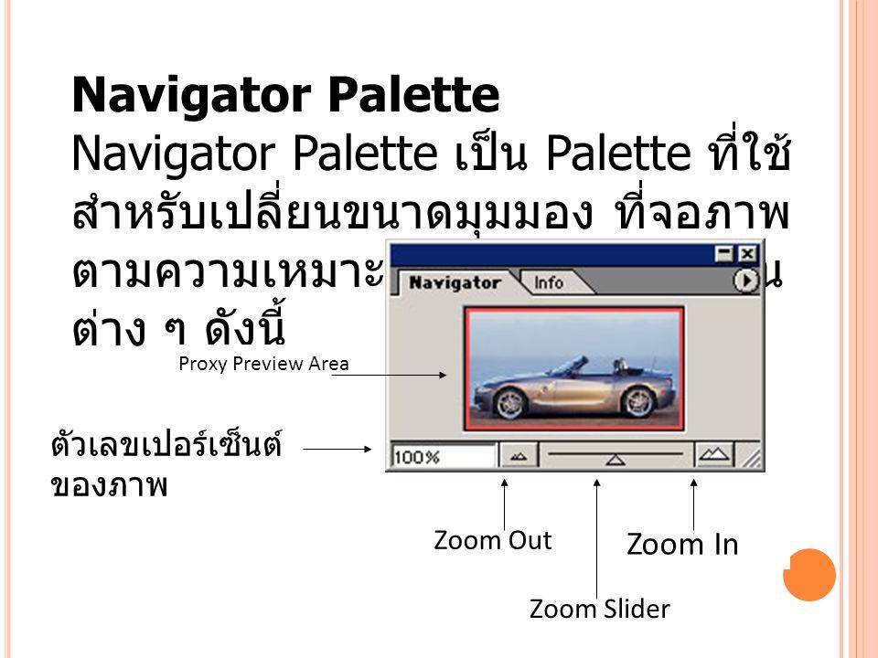 Navigator Palette Navigator Palette เป็น Palette ที่ใช้สำหรับเปลี่ยนขนาดมุมมอง ที่จอภาพตามความเหมาะสม ประกอบด้วยส่วน.
