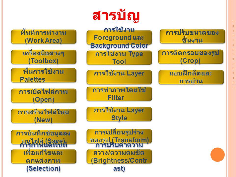 สารบัญ พื้นที่การทำงาน (Work Area)