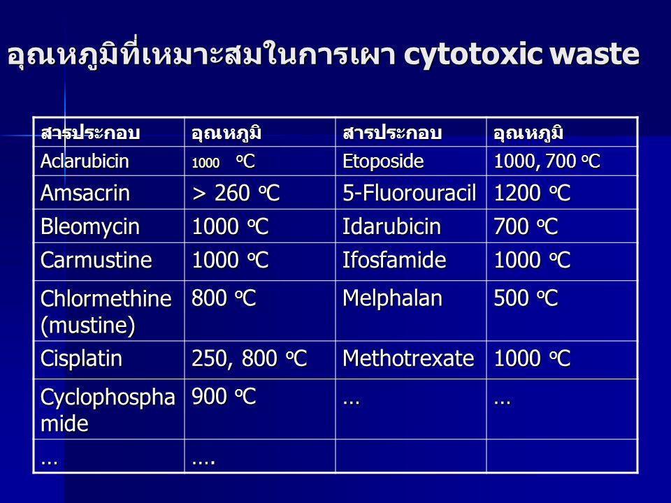 อุณหภูมิที่เหมาะสมในการเผา cytotoxic waste