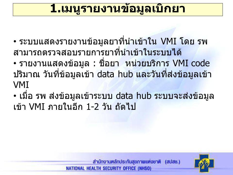1.เมนูรายงานข้อมูลเบิกยา