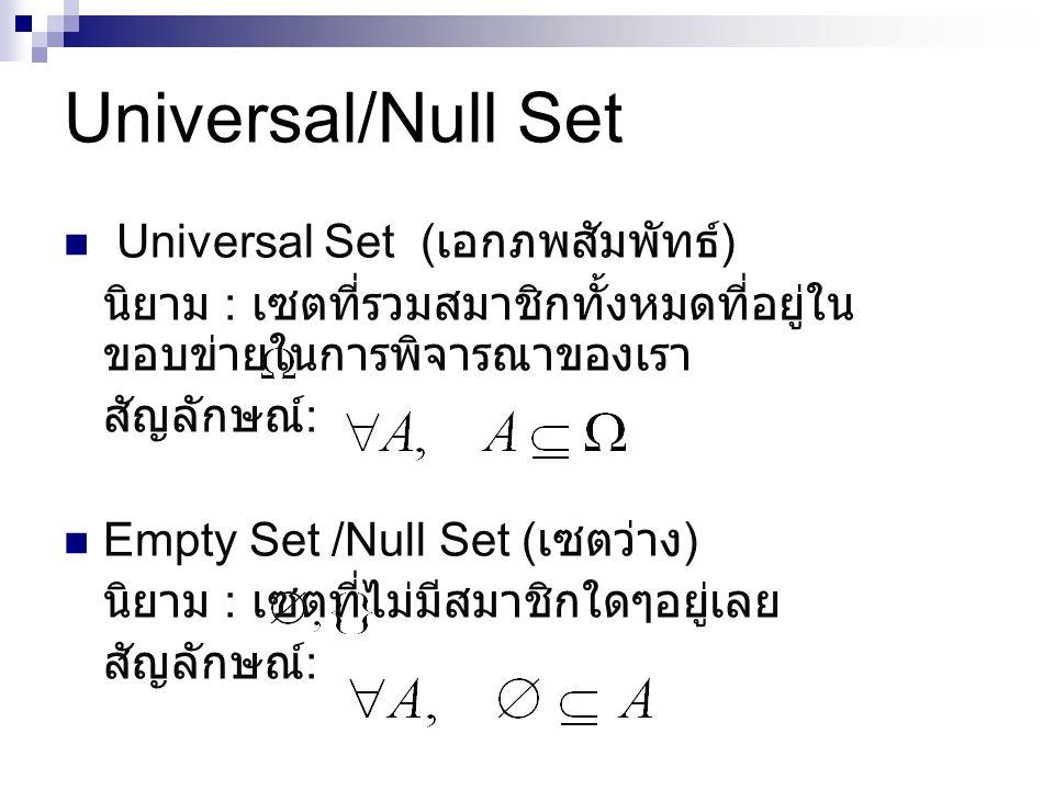 Universal/Null Set Universal Set (เอกภพสัมพัทธ์)