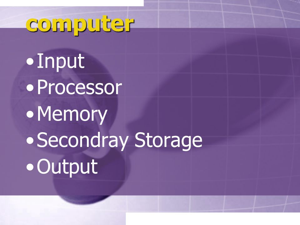 computer Input Processor Memory Secondray Storage Output