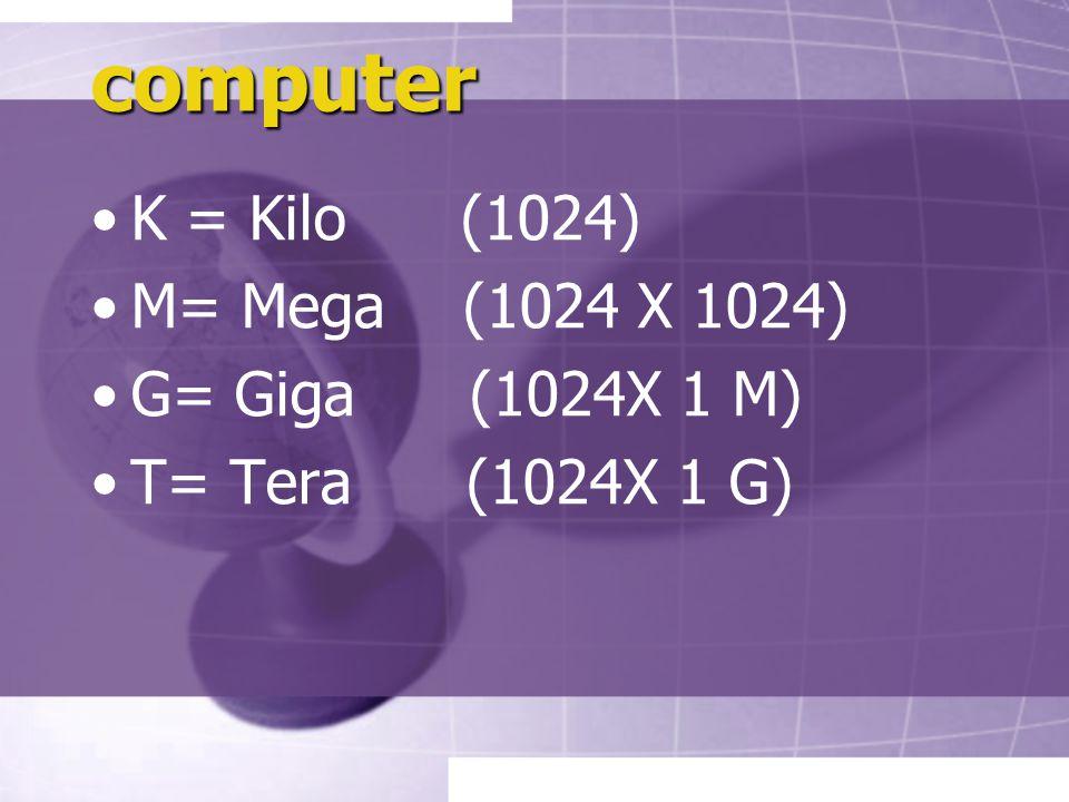 computer K = Kilo (1024) M= Mega (1024 X 1024) G= Giga (1024X 1 M)