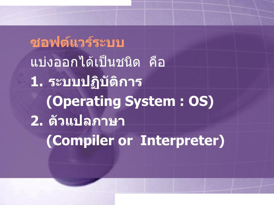 ซอฟต์แวร์ระบบ แบ่งออกได้เป็นชนิด คือ. ระบบปฏิบัติการ.