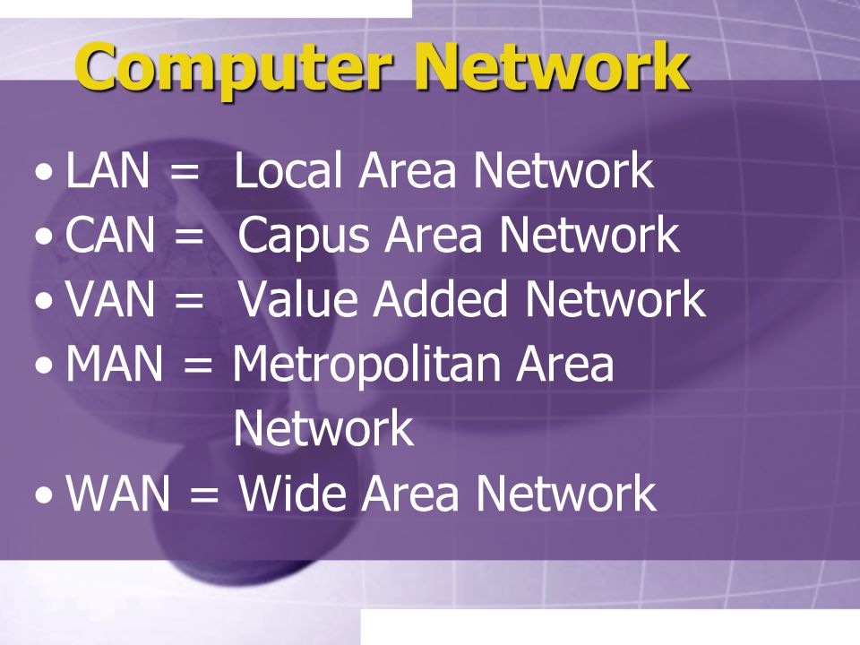 Computer Network LAN = Local Area Network CAN = Capus Area Network