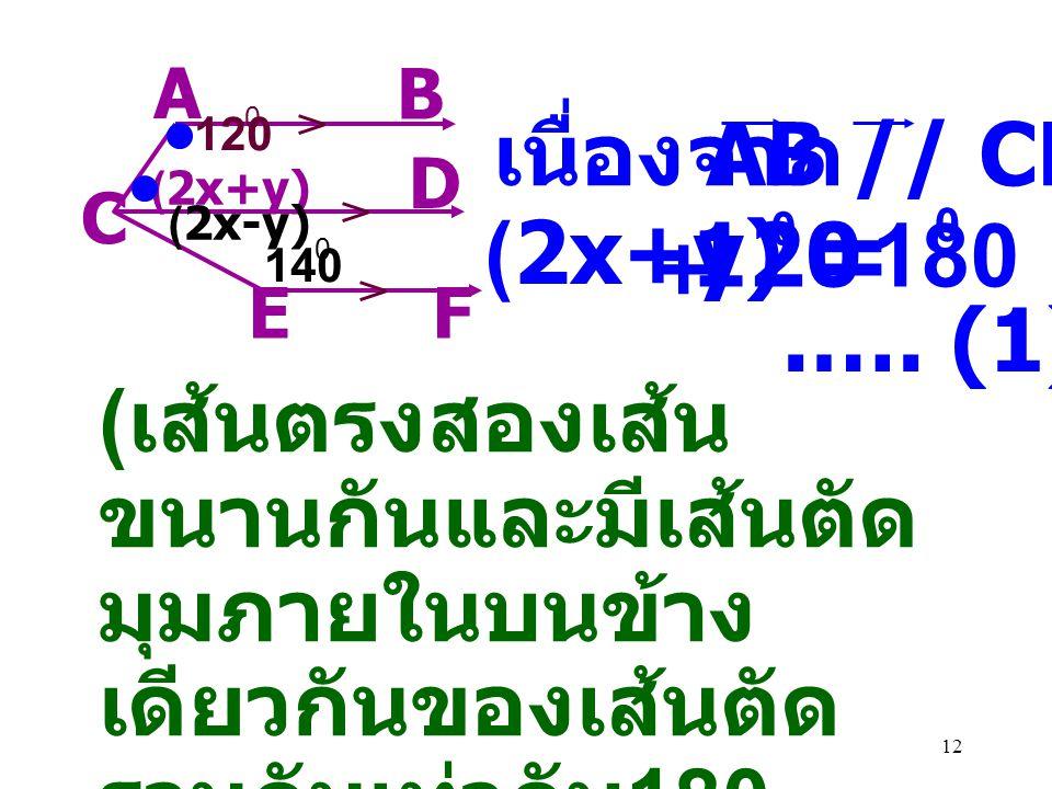= 120 180 เนื่องจาก AB // CD (2x+y) .…. (1)