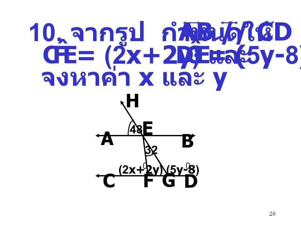 10. จากรูป กำหนดให้ มี AB // CD = (2x+2y) และ = (5y-8) จงหาค่า x และ y