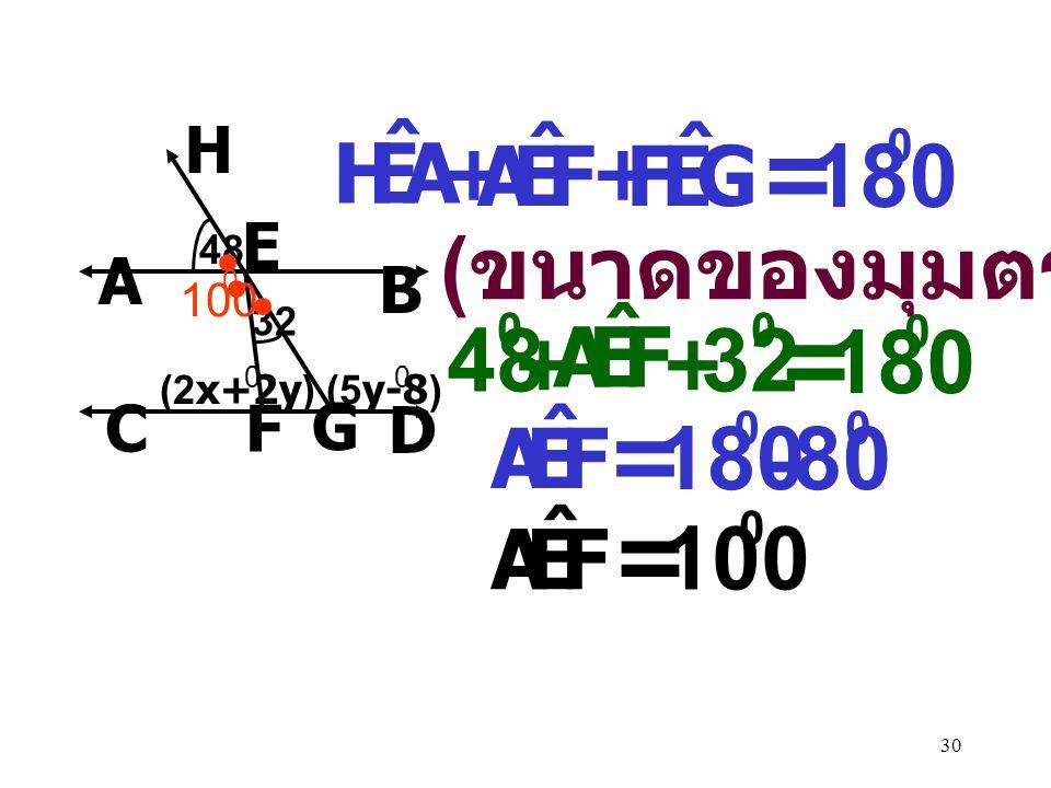 = = = = 180 48 32 180 180 80 100 (ขนาดของมุมตรง) A E H ˆ F G F E A ˆ F