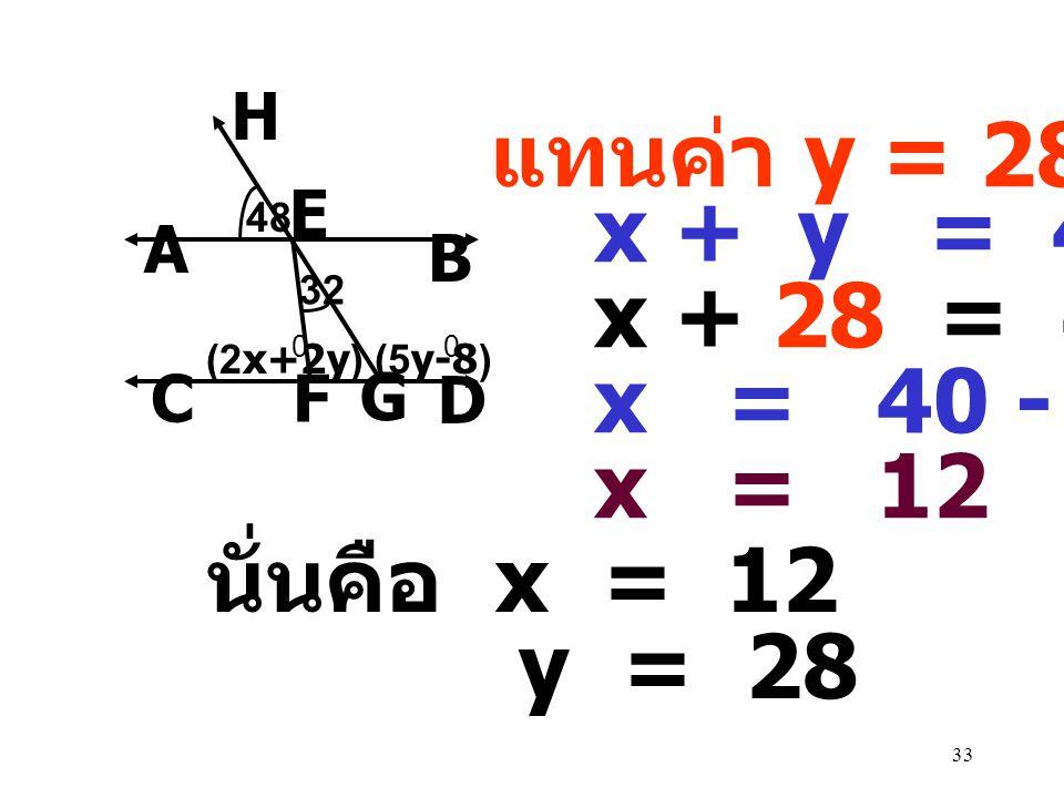 แทนค่า y = 28 x + y = 40 x + 28 = 40 x = 40 - 28 x = 12 นั่นคือ x = 12