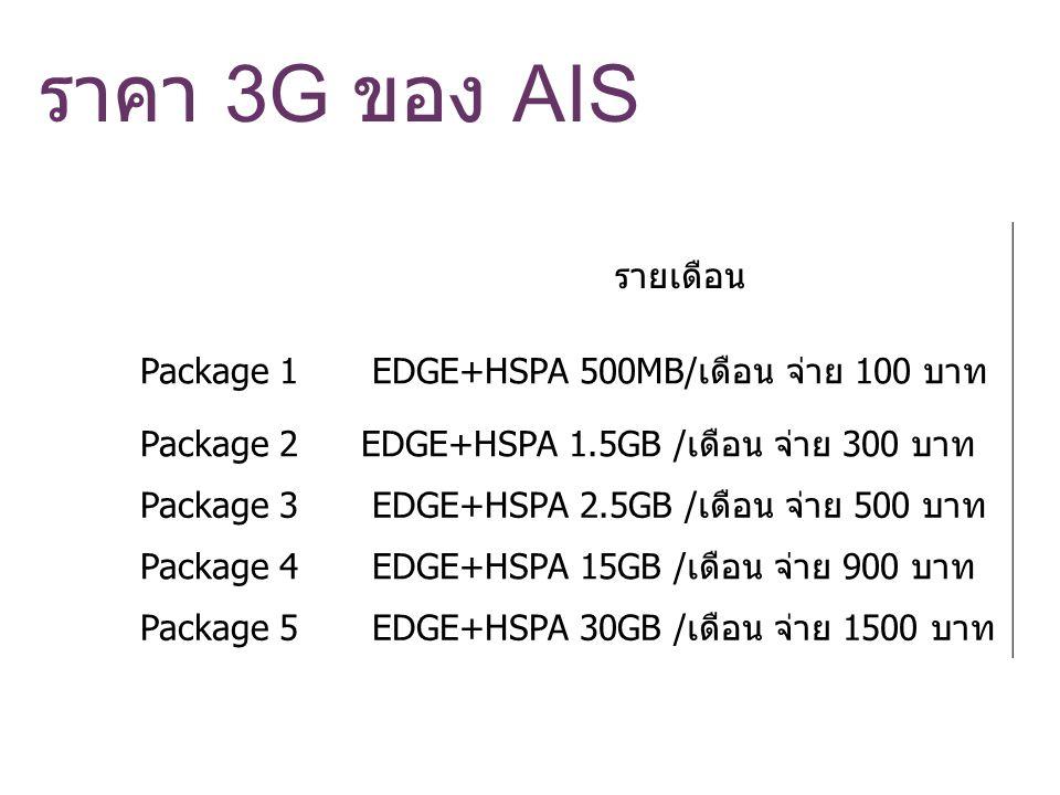 ราคา 3G ของ AIS รายเดือน Package 1 EDGE+HSPA 500MB/เดือน จ่าย 100 บาท