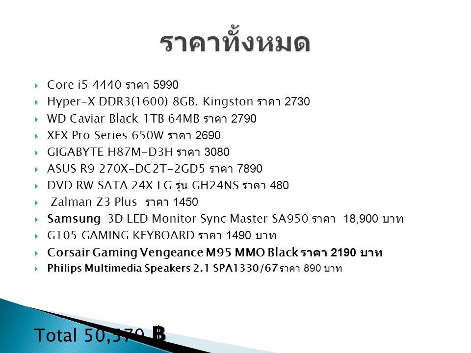 ราคาทั้งหมด Total 50,570 ฿ Core i5 4440 ราคา 5990