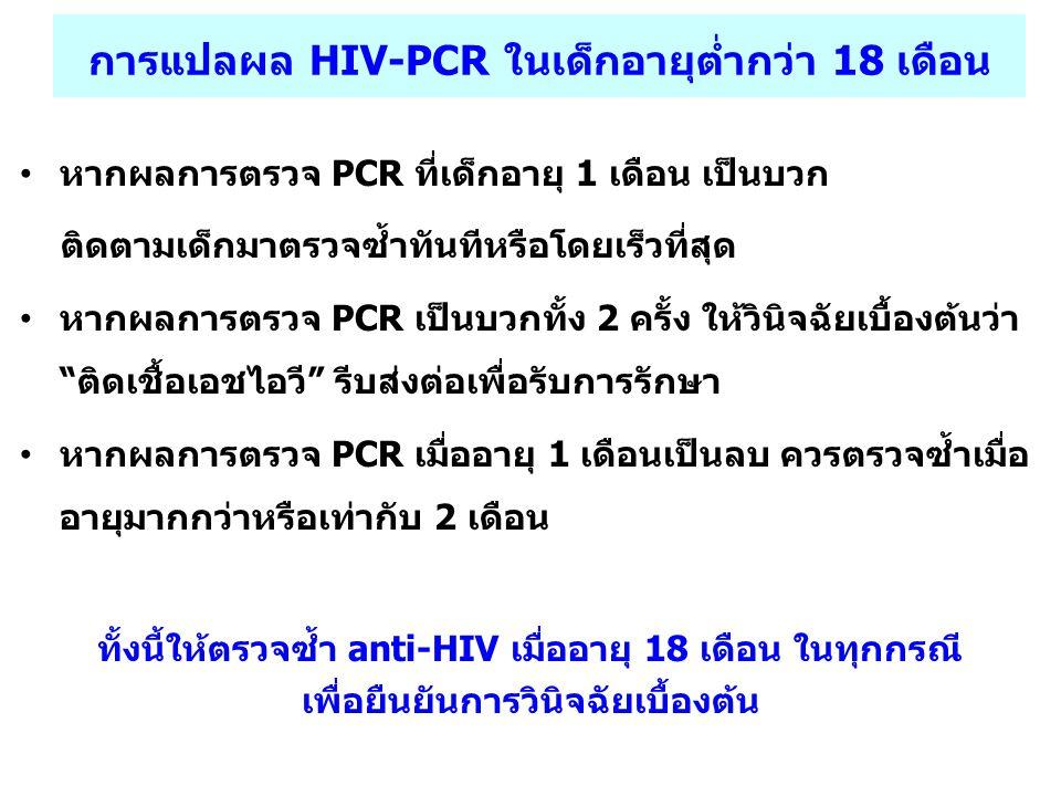 การแปลผล HIV-PCR ในเด็กอายุต่ำกว่า 18 เดือน