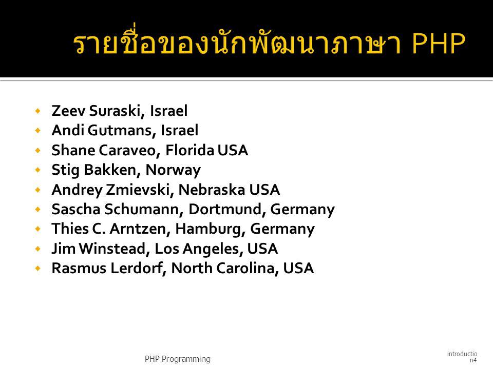 รายชื่อของนักพัฒนาภาษา PHP