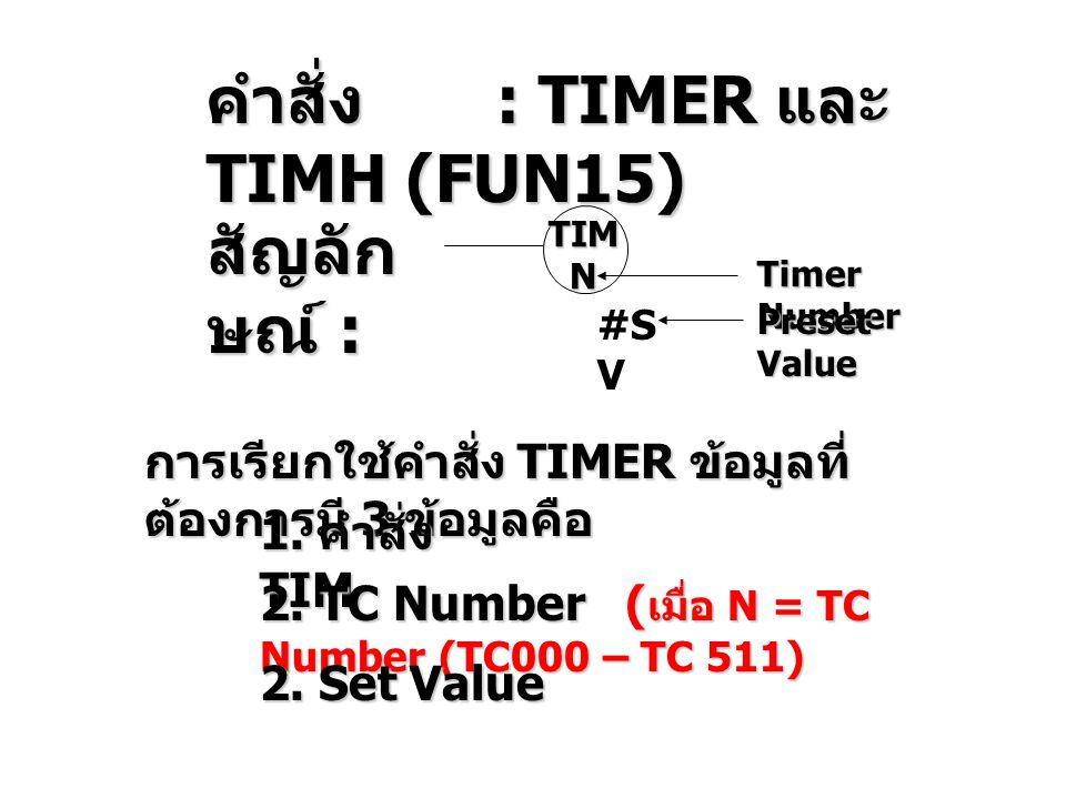 คำสั่ง : TIMER และ TIMH (FUN15)