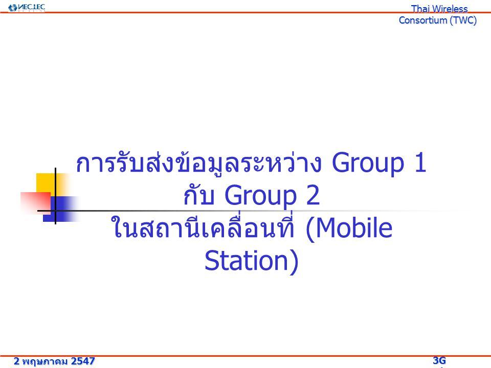 การรับส่งข้อมูลระหว่าง Group 1 กับ Group 2