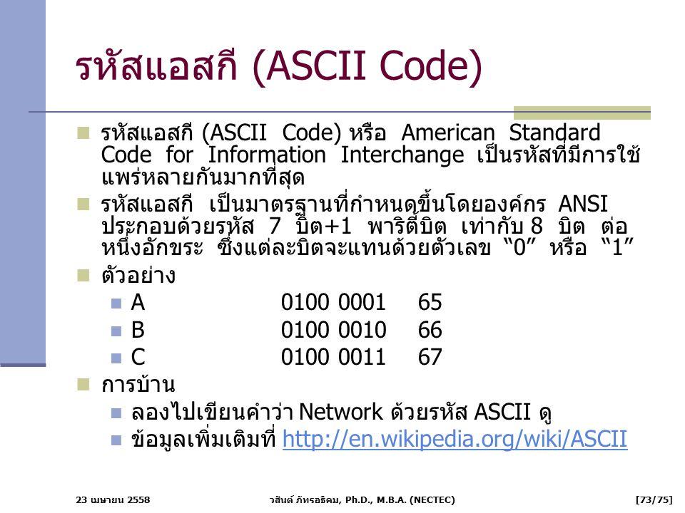 รหัสแอสกี (ASCII Code)