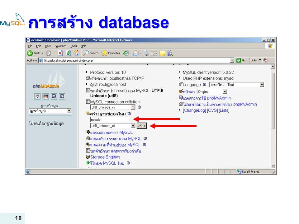การสร้าง database