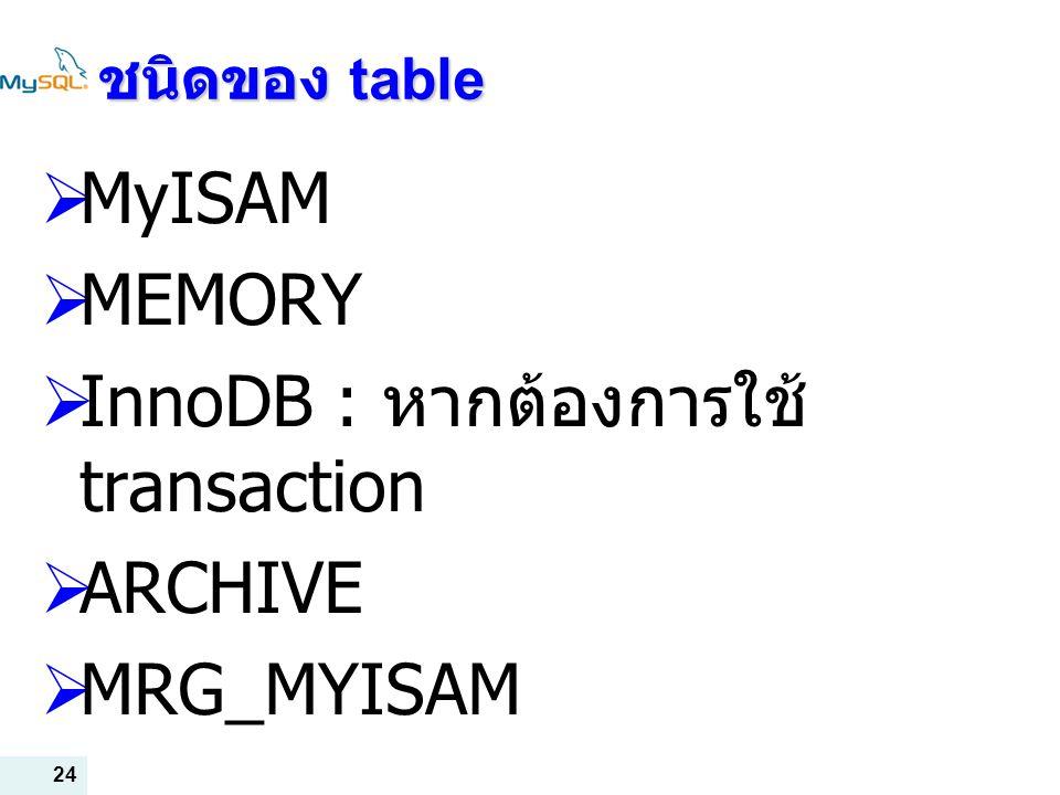 InnoDB : หากต้องการใช้ transaction ARCHIVE MRG_MYISAM