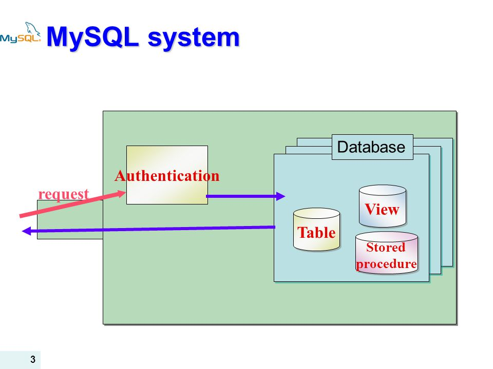 MySQL system Database Authentication request View Table Stored