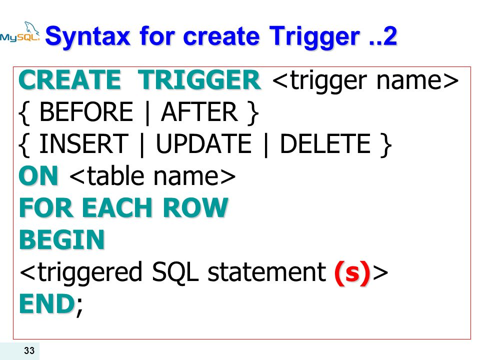 Syntax for create Trigger ..2