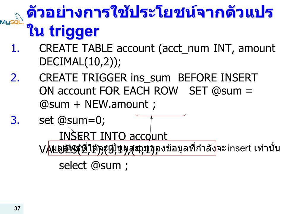 ตัวอย่างการใช้ประโยชน์จากตัวแปรใน trigger