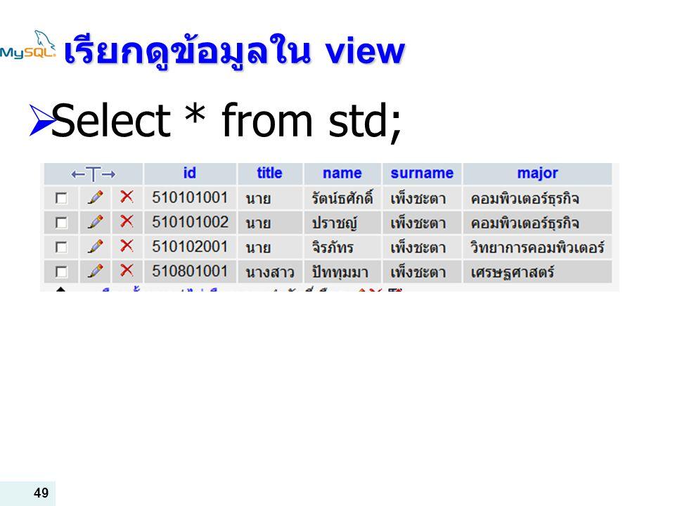 เรียกดูข้อมูลใน view Select * from std;