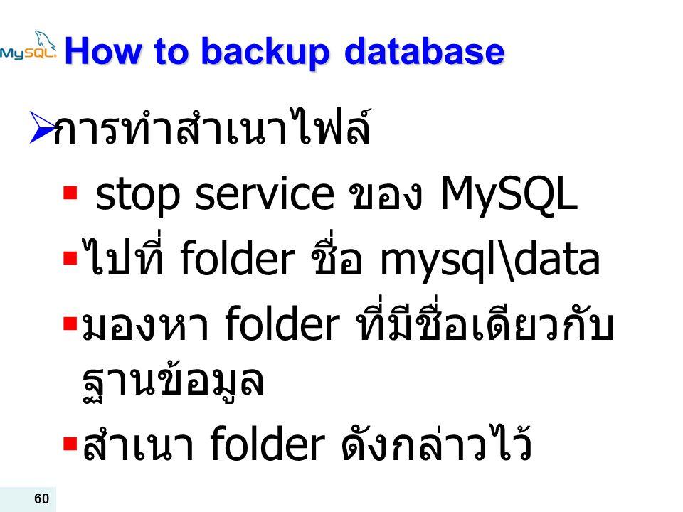 ไปที่ folder ชื่อ mysql\data มองหา folder ที่มีชื่อเดียวกับฐานข้อมูล