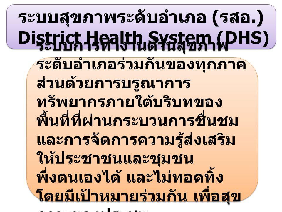 ระบบสุขภาพระดับอำเภอ (รสอ.) District Health System (DHS)