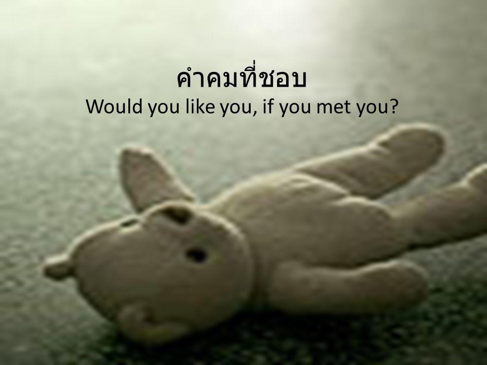 คำคมที่ชอบ Would you like you, if you met you