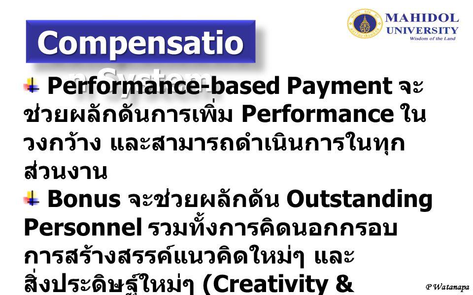 Compensation System Performance-based Payment จะช่วยผลักดันการเพิ่ม Performance ในวงกว้าง และสามารถดำเนินการในทุกส่วนงาน.