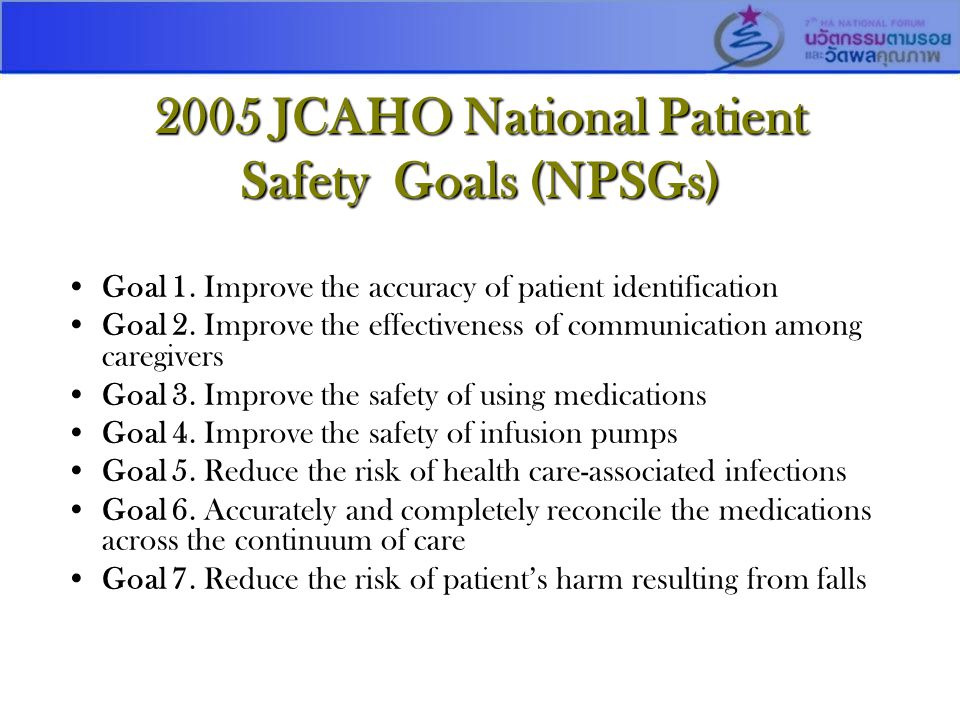 2005 JCAHO National Patient Safety Goals (NPSGs)