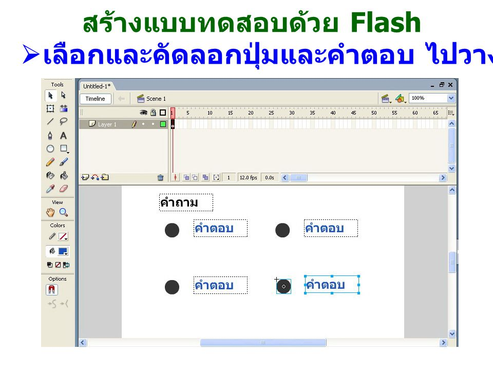 สร้างแบบทดสอบด้วย Flash