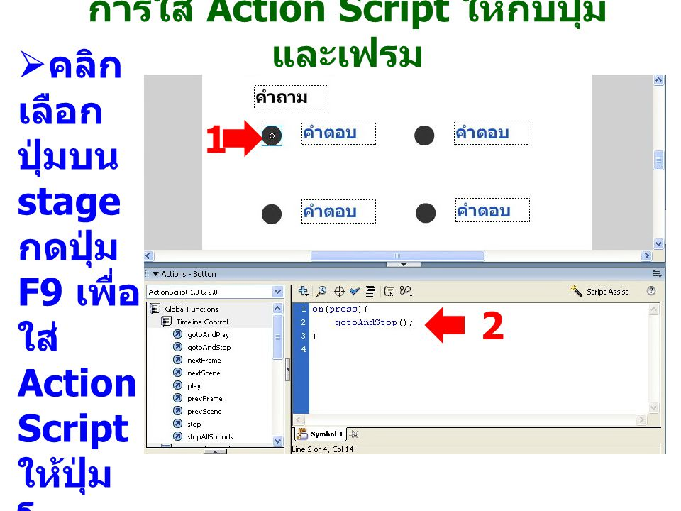การใส่ Action Script ให้กับปุ่ม และเฟรม