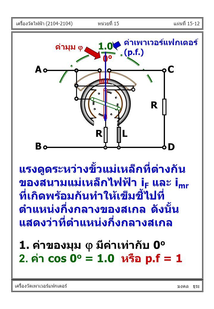 1. ค่าของมุม j มีค่าเท่ากับ 0o 2. ค่า cos 0o = 1.0 หรือ p.f = 1