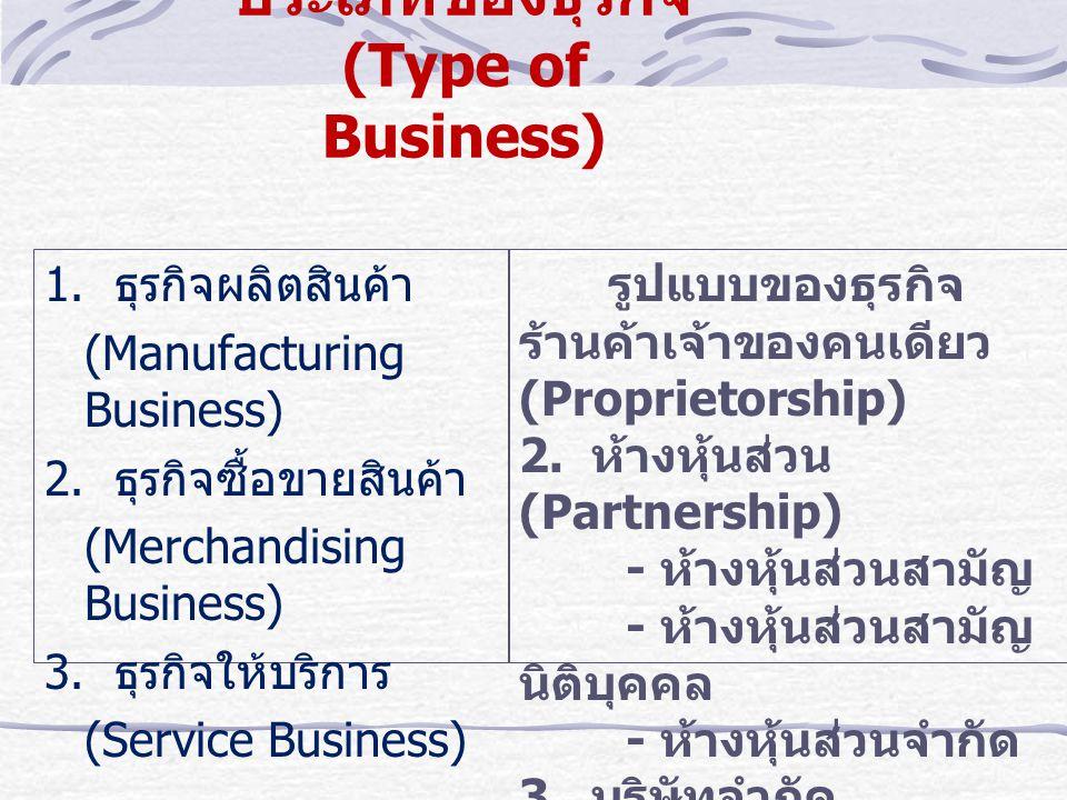 ประเภทของธุรกิจ (Type of Business)