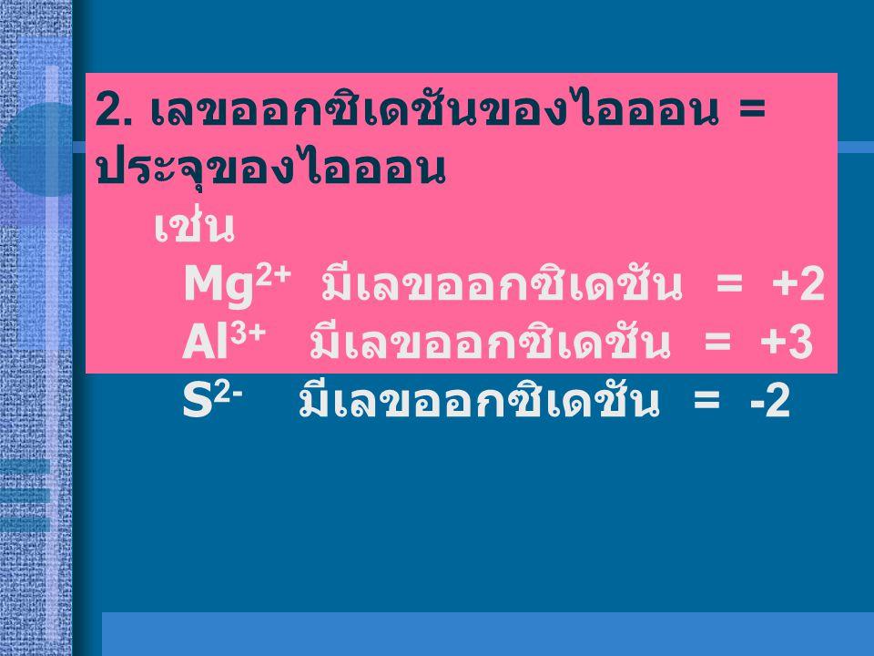 2. เลขออกซิเดชันของไอออน = ประจุของไอออน