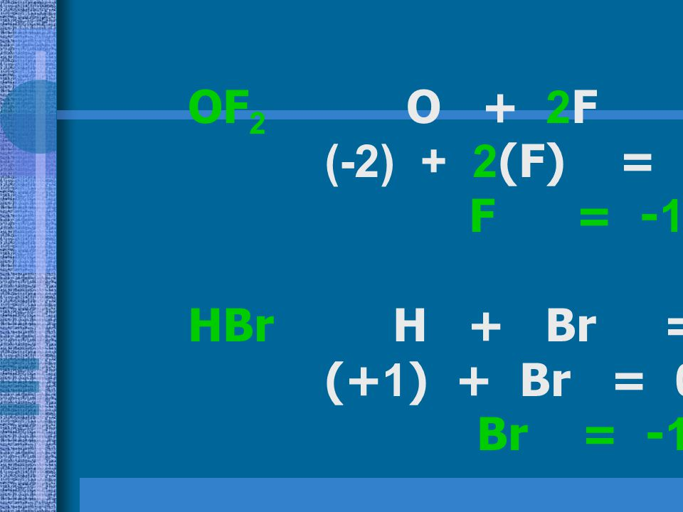 OF2 O + 2F = 0 (-2) + 2(F) = 0. F = -1. HBr H + Br = 0. (+1) + Br = 0.