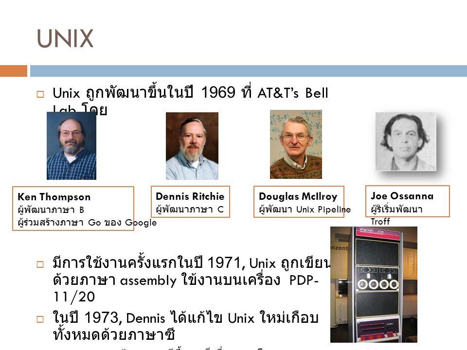 UNIX Unix ถูกพัฒนาขึ้นในปี 1969 ที่ AT&T's Bell Lab โดย