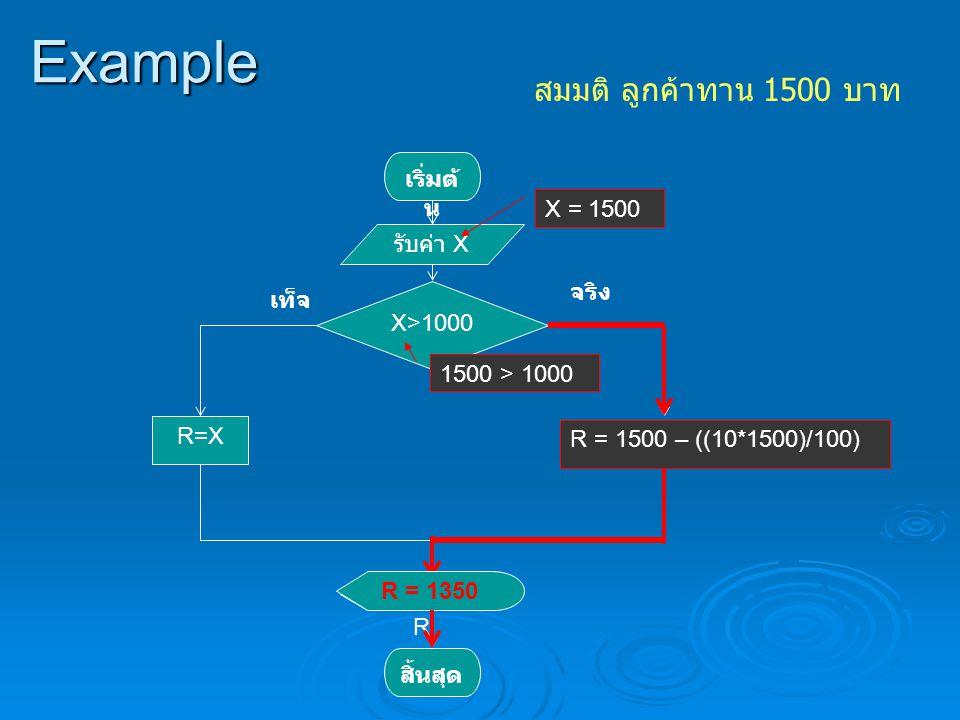 Example สมมติ ลูกค้าทาน 1500 บาท เริ่มต้น รับค่า X X>1000 จริง เท็จ