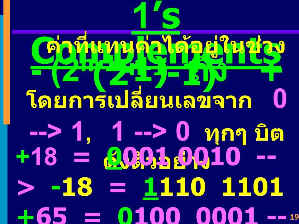 โดยการเปลี่ยนเลขจาก 0 --> 1, 1 --> 0 ทุกๆ บิต ดังตัวอย่าง