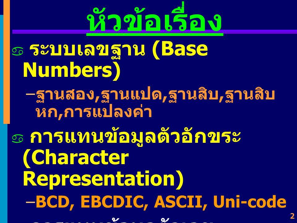 หัวข้อเรื่อง ระบบเลขฐาน (Base Numbers)