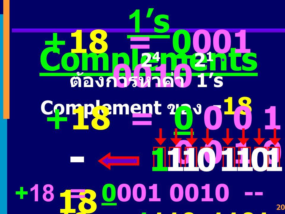 ต้องการหาค่า 1's Complement ของ -18