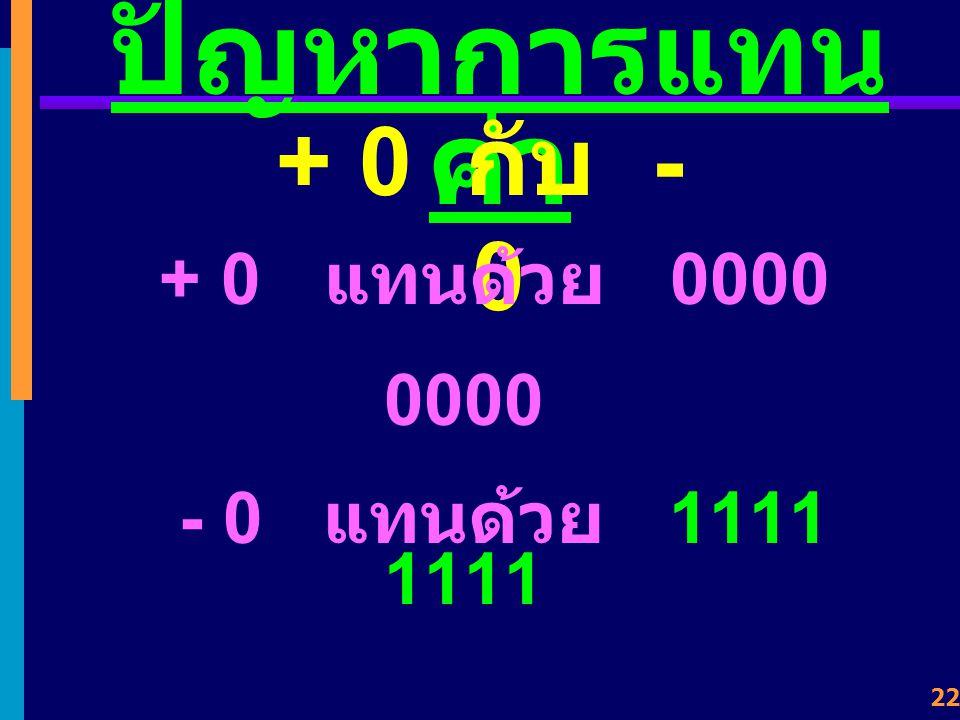 ปัญหาการแทนค่า + 0 กับ - 0 + 0 แทนด้วย 0000 0000 - 0 แทนด้วย 1111 1111