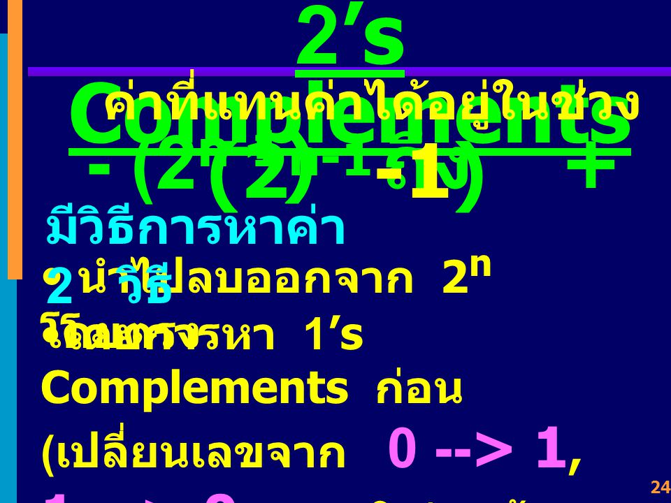 2's Complements ค่าที่แทนค่าได้อยู่ในช่วง - (2n-1) ถึง + (2n-1-1)