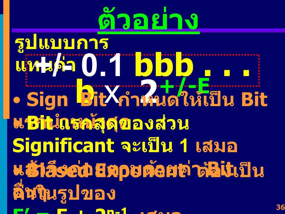 +/- 0.1 bbb . . . b x 2+/-E ตัวอย่าง รูปแบบการแทนค่า