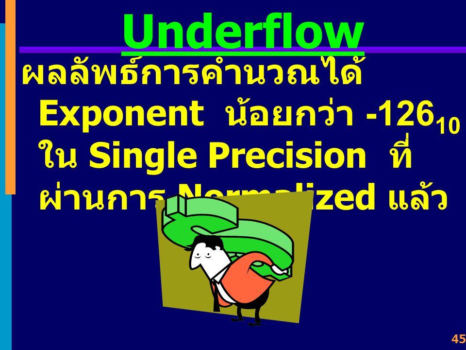 Underflow ผลลัพธ์การคำนวณได้ Exponent น้อยกว่า -12610 ใน Single Precision ที่ผ่านการ Normalized แล้ว.
