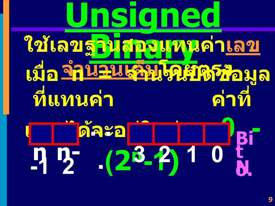 Unsigned Binary ใช้เลขฐานสองแทนค่าเลขจำนวนเต็มโดยตรง. เมื่อ n = จำนวนบิตข้อมูลที่แทนค่า ค่าที่แทนได้จะอยู่ในช่วง 0 - (2n-1)